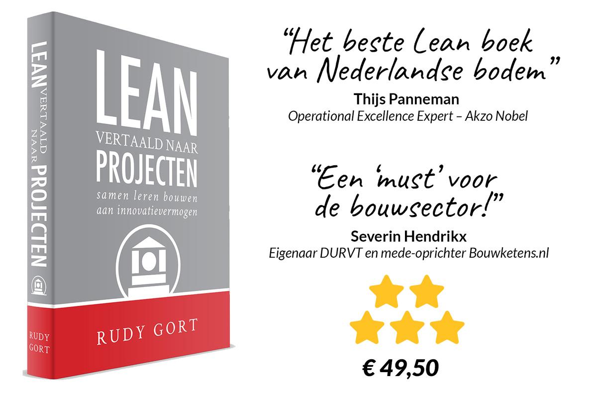 Boekcover + quote - Lean vertaald naar projecten (voorkant)